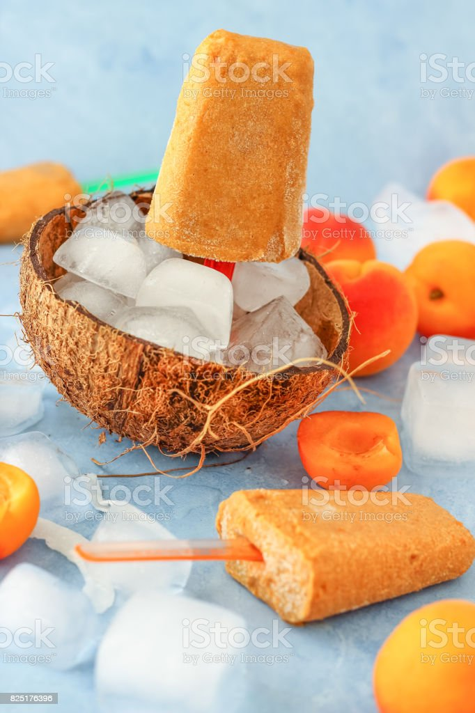 Apricot and Coconut Popsicles stock photo