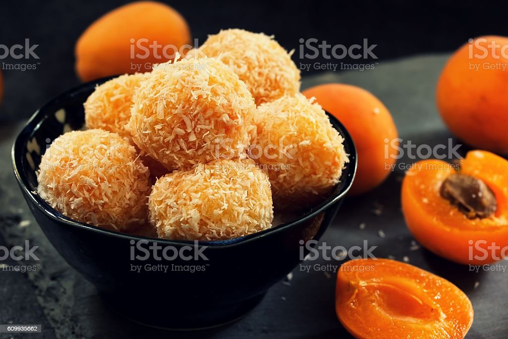 Apricot energy balls / Protein balls  with apricots stock photo