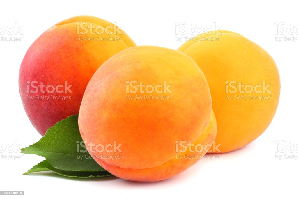 apricot fruits with green leaf isolated on white background Clipping Path stock photo