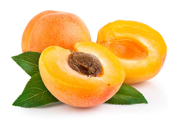 apricot fruits with green leaf stok fotoğrafı