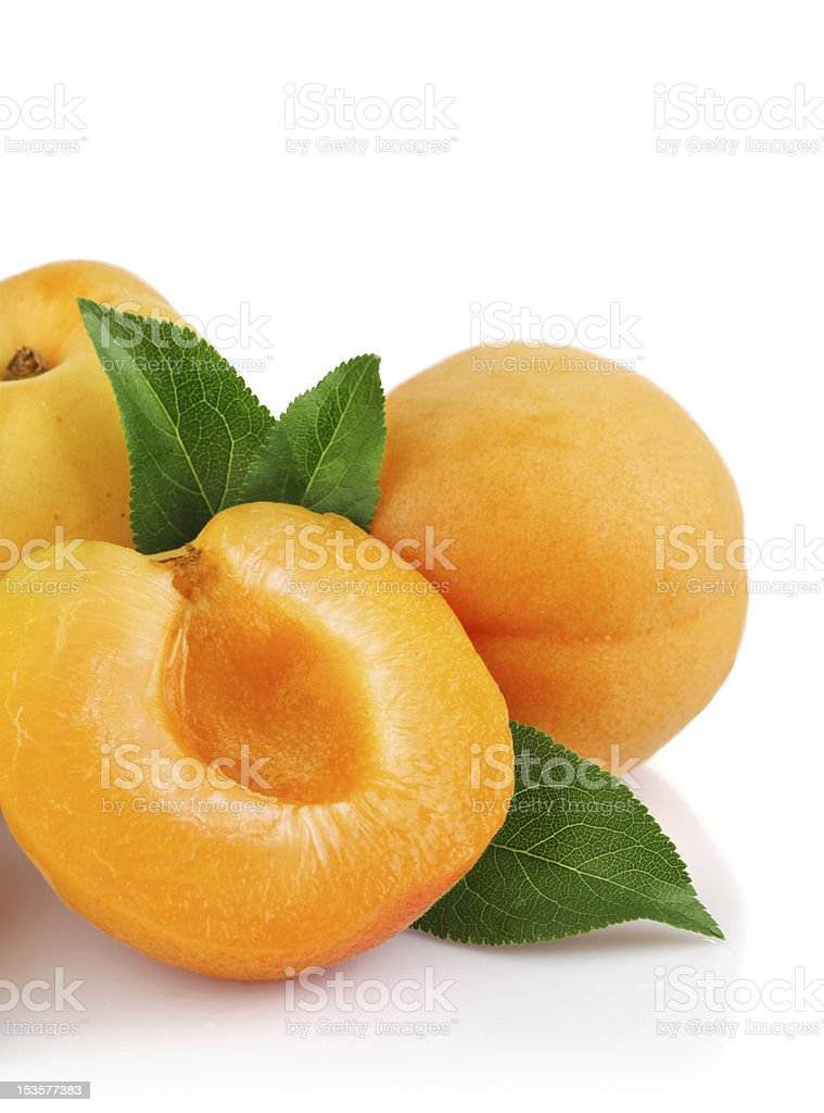 apricot fruits with green leaf royalty-free stock photo