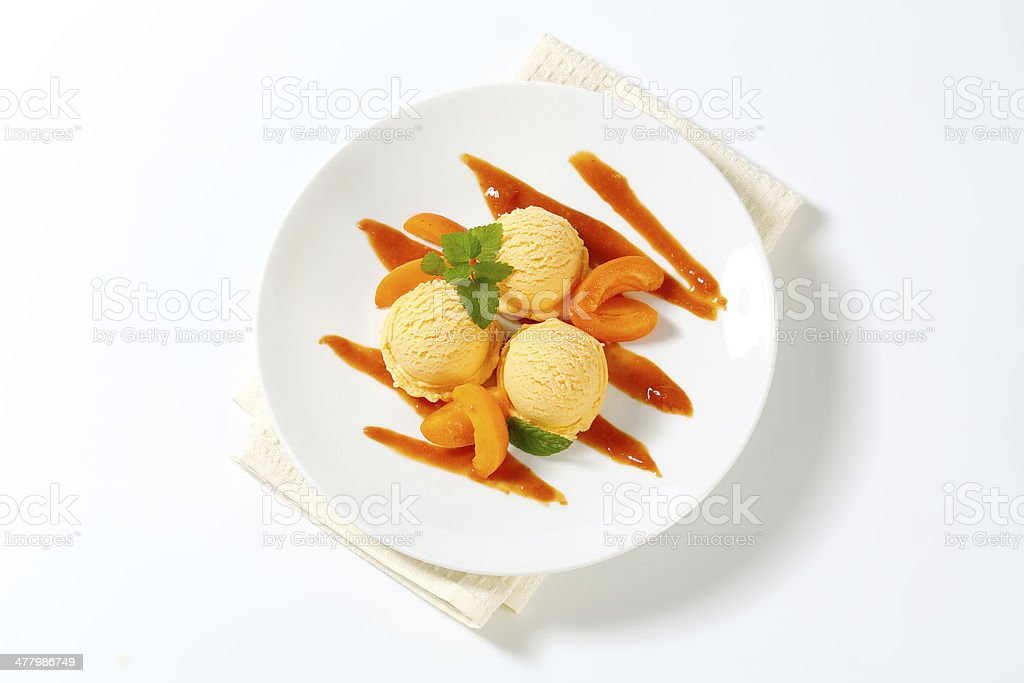 apricot ice cream and apricots royalty-free stock photo