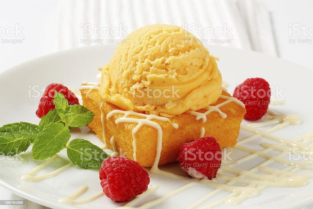 apricot ice cream and custard cake royalty-free stock photo