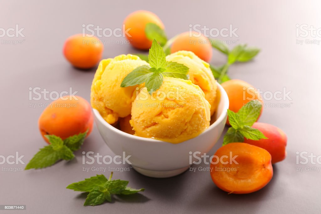 apricot ice cream stock photo