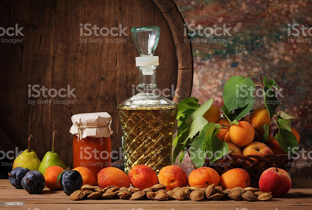 Apricot jam and fruit royalty-free stock photo