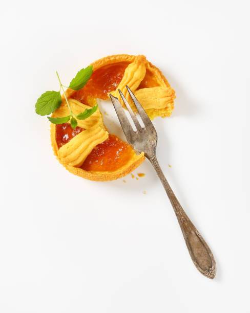 apricot jam tart stock photo