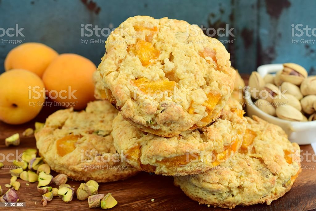 Apricot pistachio scones stock photo
