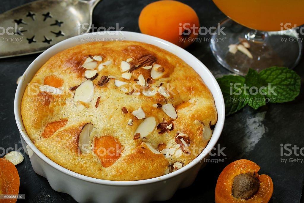 Apricot Pudding / apricot Clafoutis stock photo