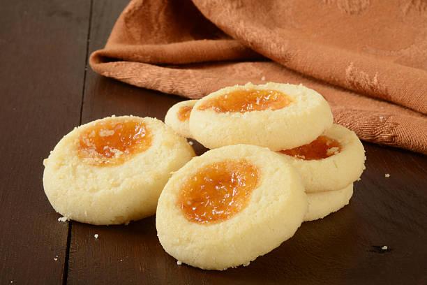 Apricot shortbread cookies stock photo