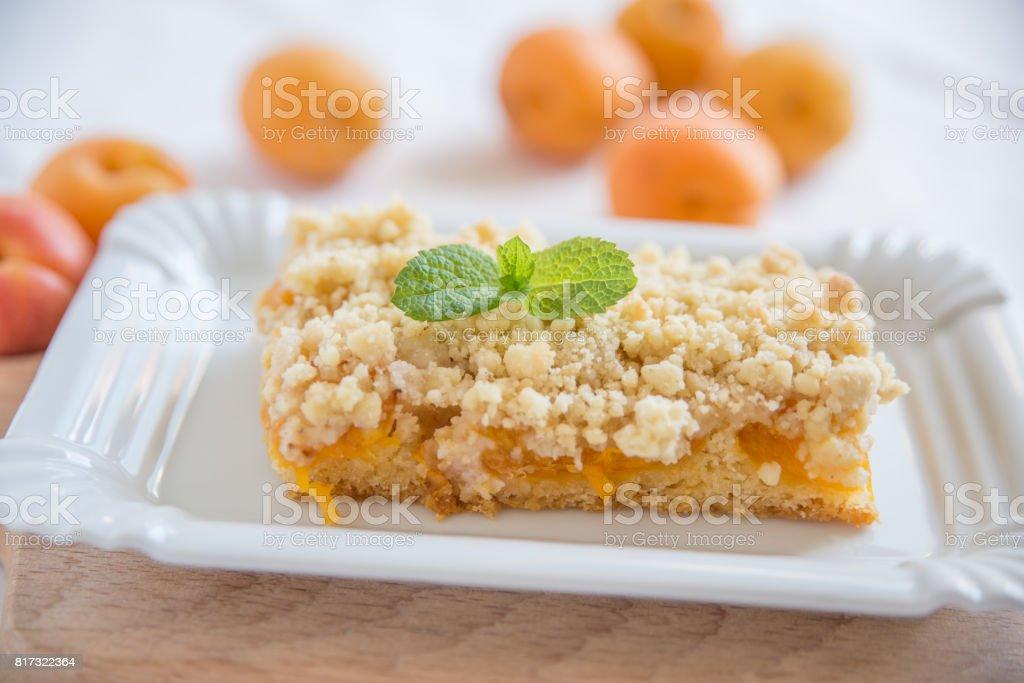 Apricot Streusel Cake stock photo