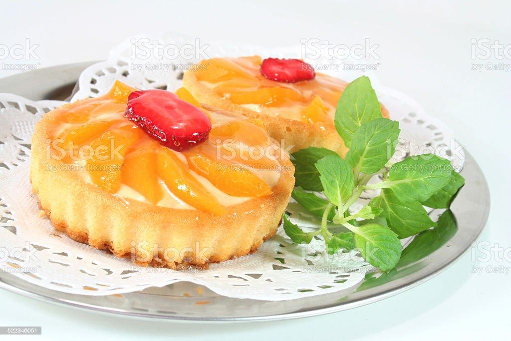 Apricot tart with lemon balm stock photo