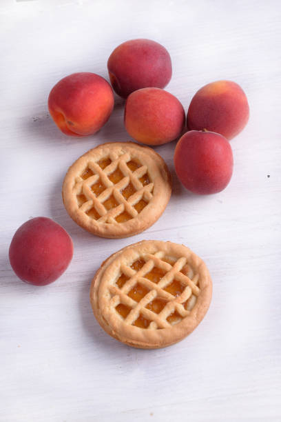 Apricot tarts with apricot fruit stock photo