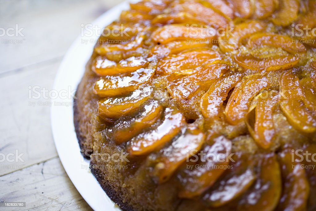 Apricot upside-down cake stock photo
