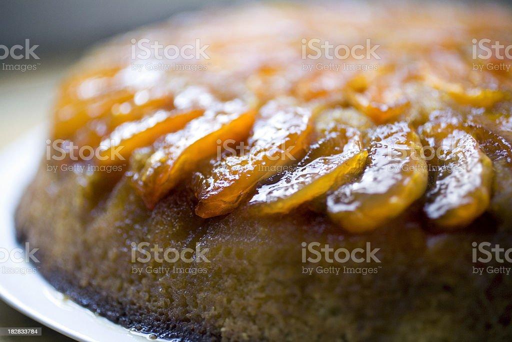 Apricot upside-down cake royalty-free stock photo