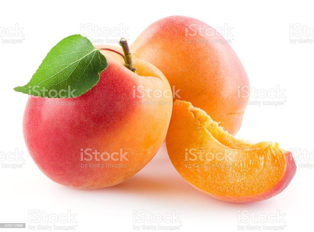 Apricot with slice isolated on white background stok fotoğrafı