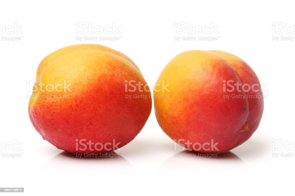 Apricot with slice isolated on white background stock photo