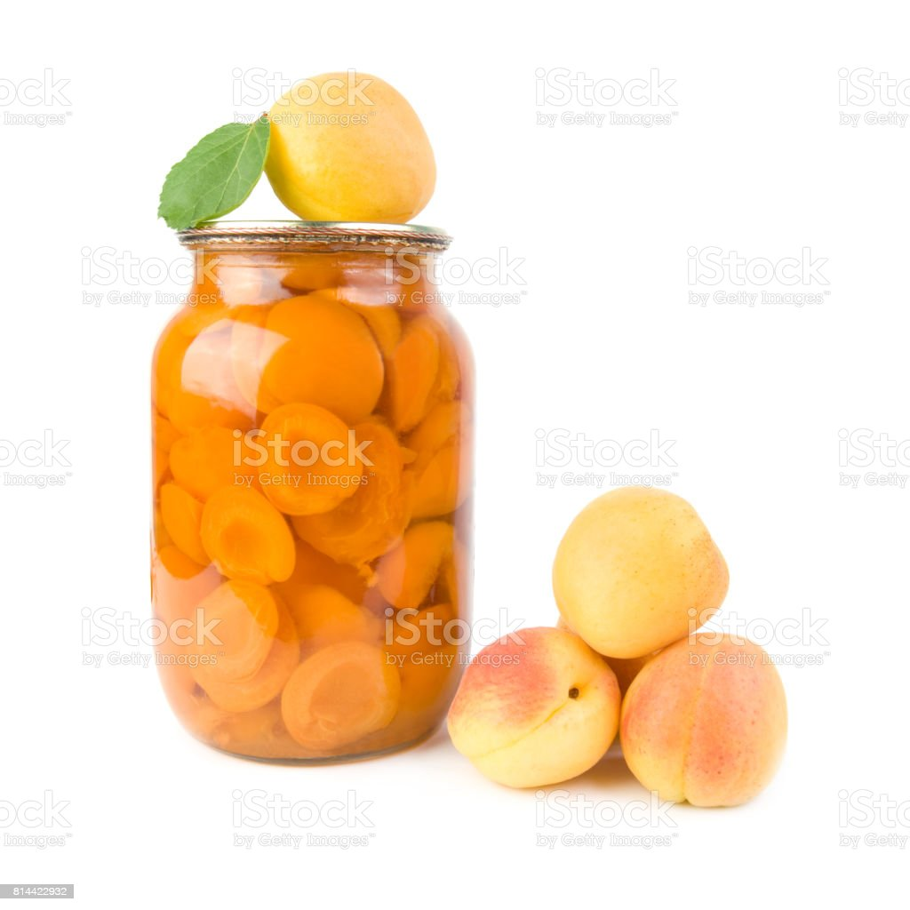 Apricots and apricot jam. stock photo