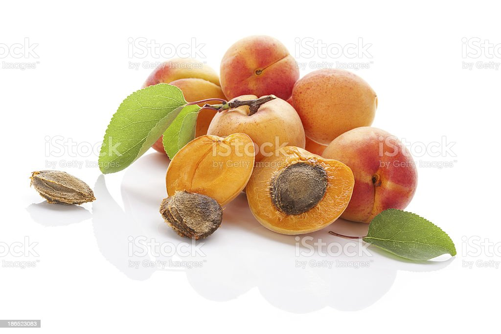 Apricots isolated on white background. royalty-free stock photo