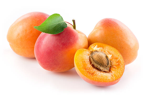 Apricots isolated on white background stok fotoğrafı