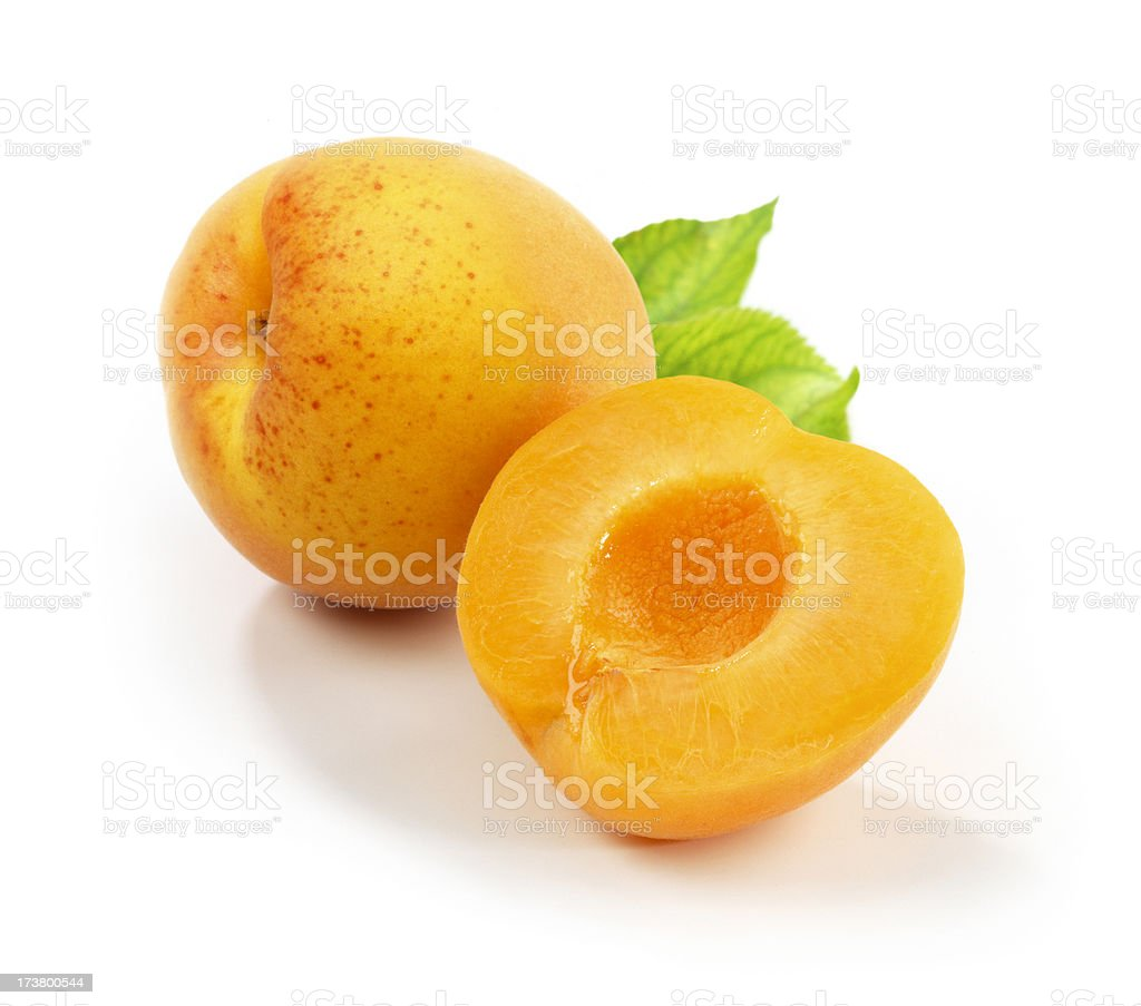 Apricots with Leafs royalty-free stock photo
