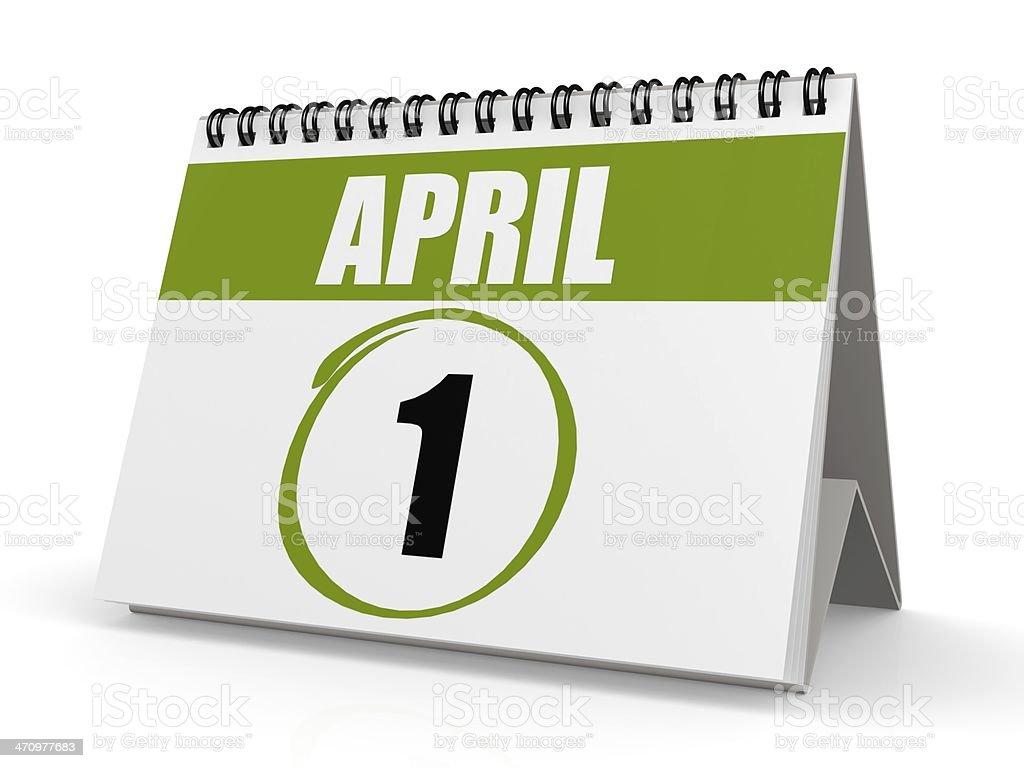 April 1 calendar stock photo
