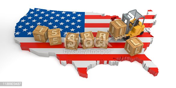 947260978 istock photo April 15 Wooden Block Text of USA Map. 3D Rendering 1135923437