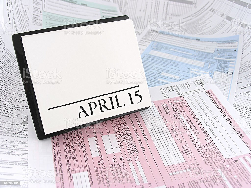 April 15th Calendar on Tax Forms stock photo