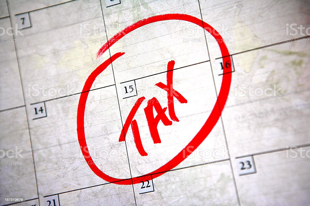 April 15th Tax Time stock photo