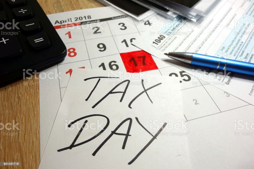 April 17 2018 marked as tax day stock photo