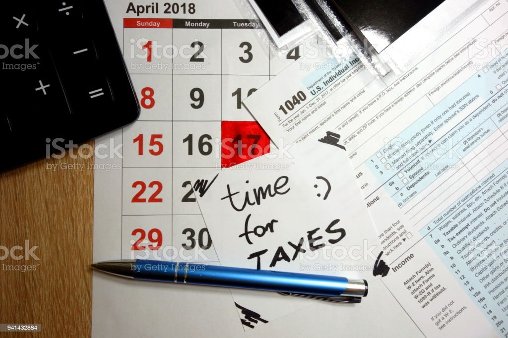 April 17 2018 marked as time for taxes stock photo
