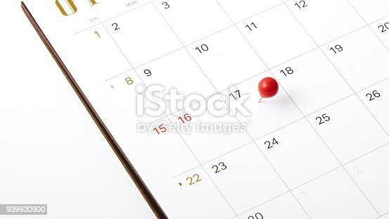 April 17, 2018 tax day, Red push pin on calendar or planner