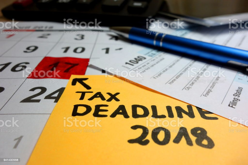 April 17 marked as tax day stock photo