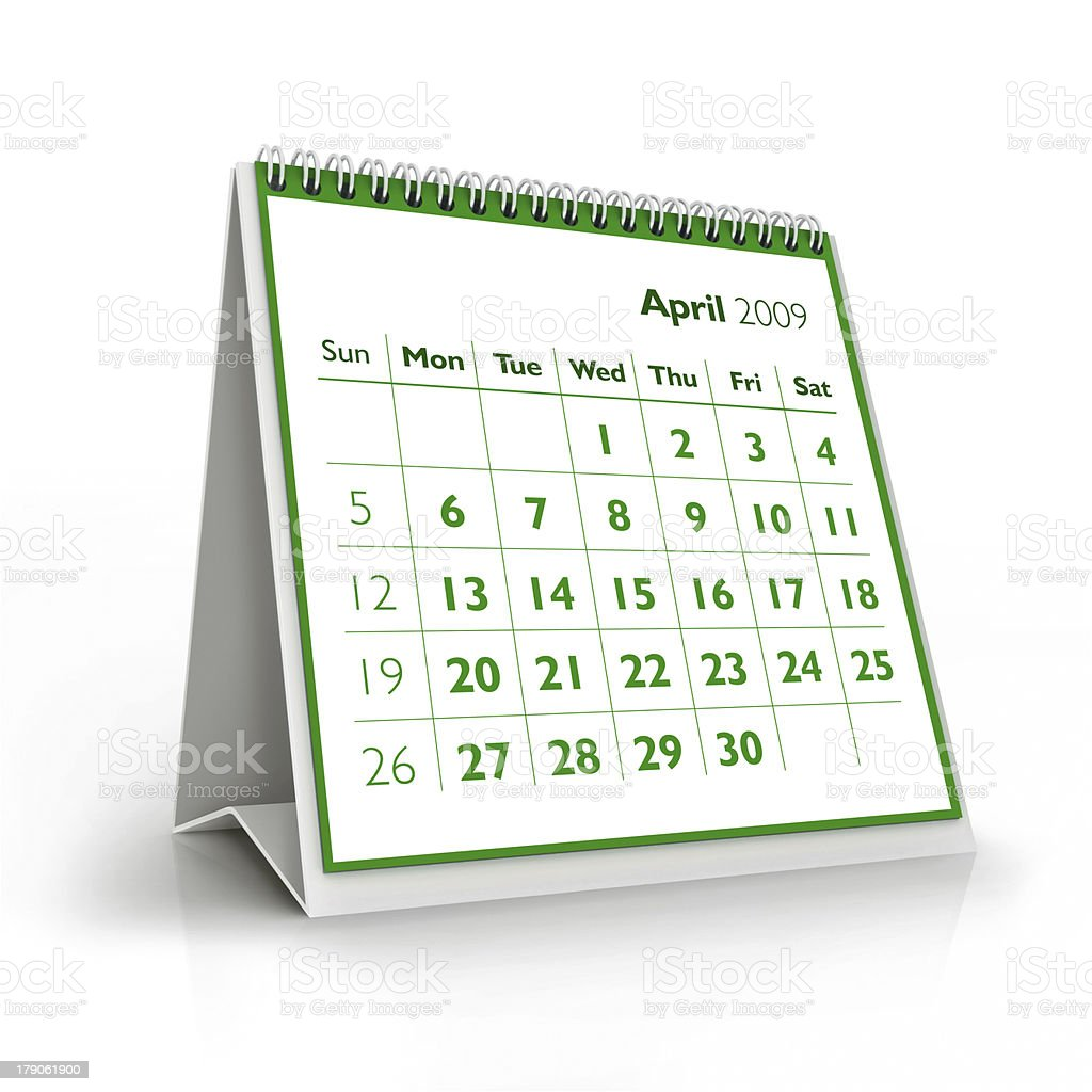 April. 2009 3D calendar stock photo