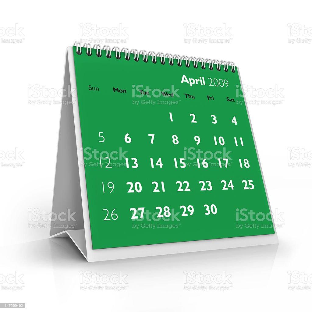 April. 2009 calendar royalty-free stock photo