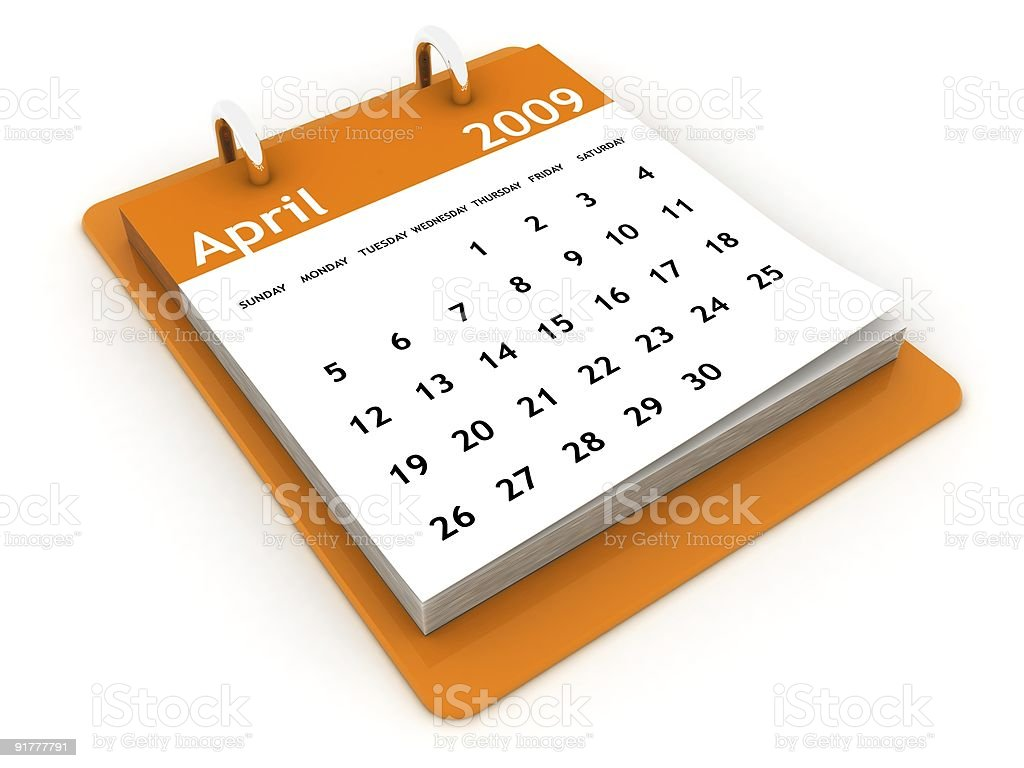 April 2009 - Orange Calendar series stock photo