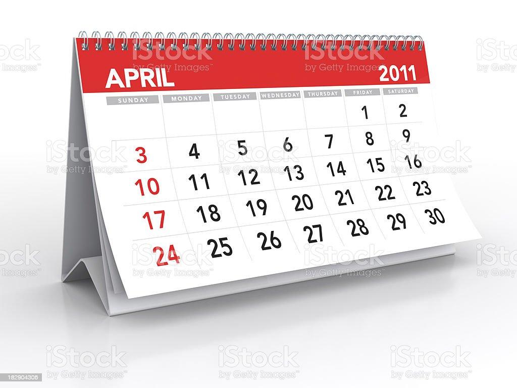 April 2011 - Calendar royalty-free stock photo