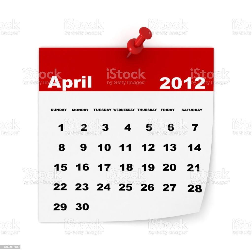 April 2012 Calendar royalty-free stock photo