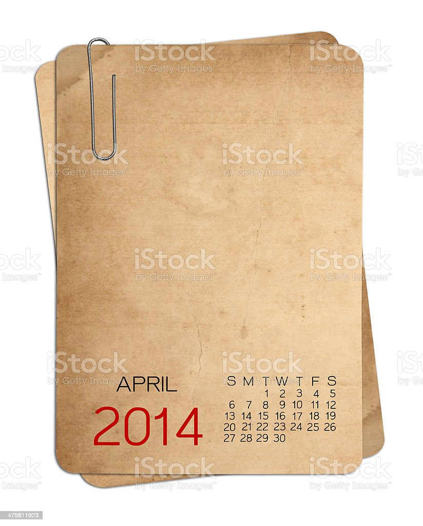 April 2014 Calendar on the Empty old photo royalty-free stock photo