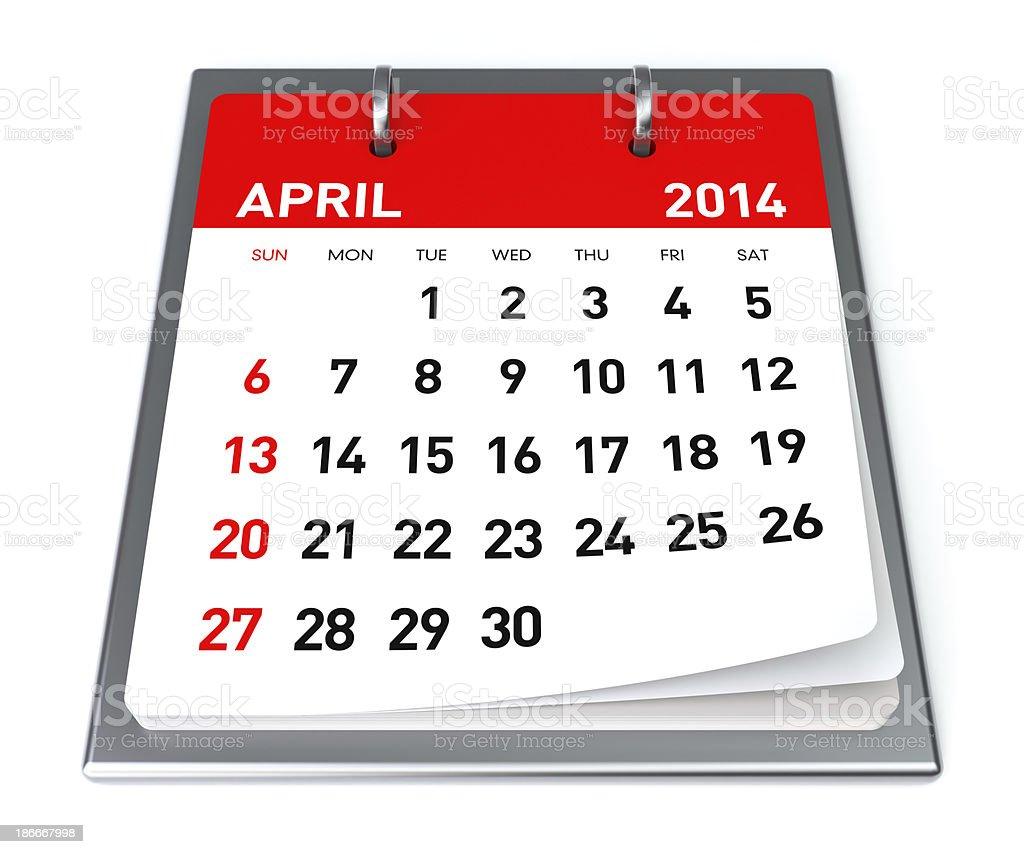 April 2014 - Calendar royalty-free stock photo