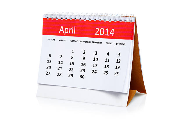 April 2014 Calendar April 2014 Calendar isolated on white 2014 stock pictures, royalty-free photos & images