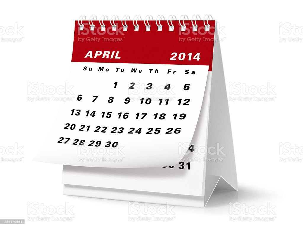 April - 2014 Desktop Calendar (Clipping Path) royalty-free stock photo