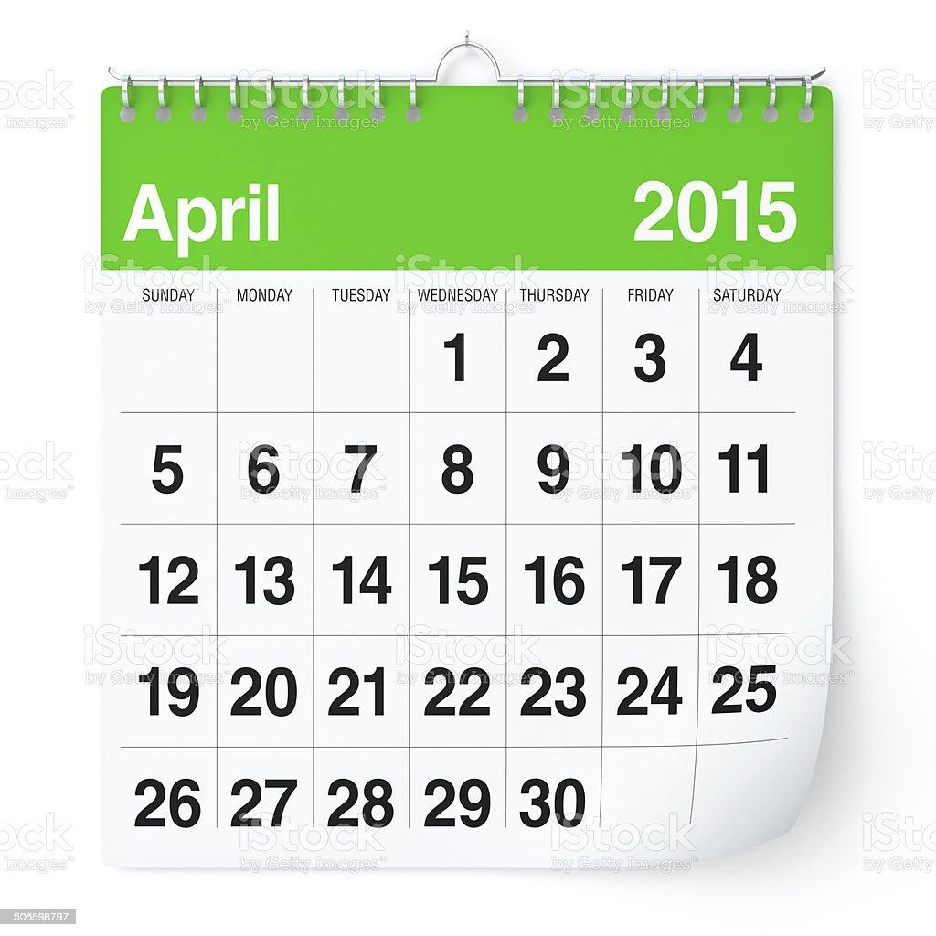 April 2015 - Calendar stock photo