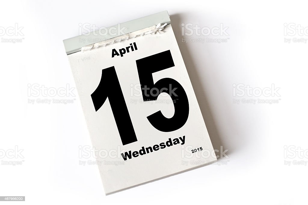 15. April 2015 stock photo