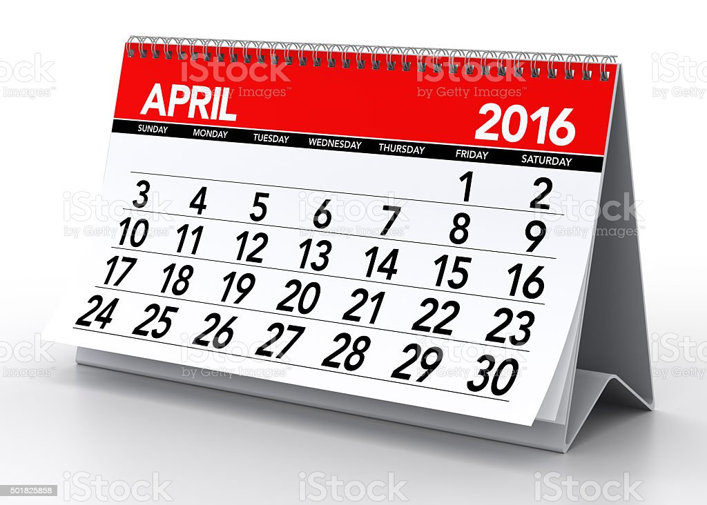 April 2016 Calendar stock photo