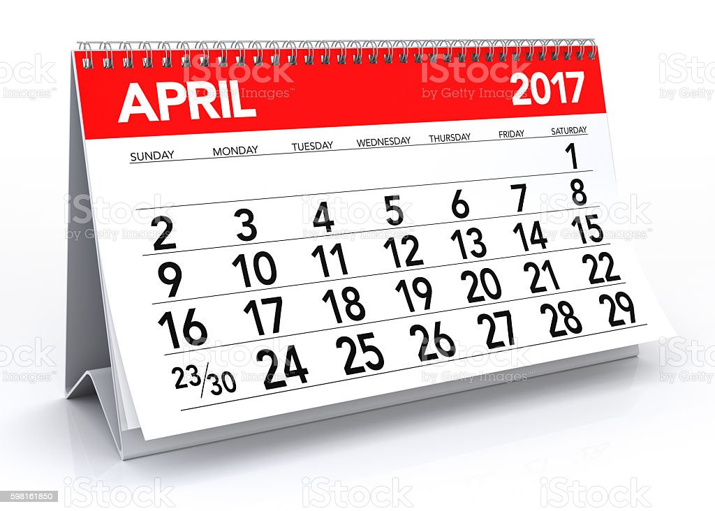 April 2017 Calendar stock photo