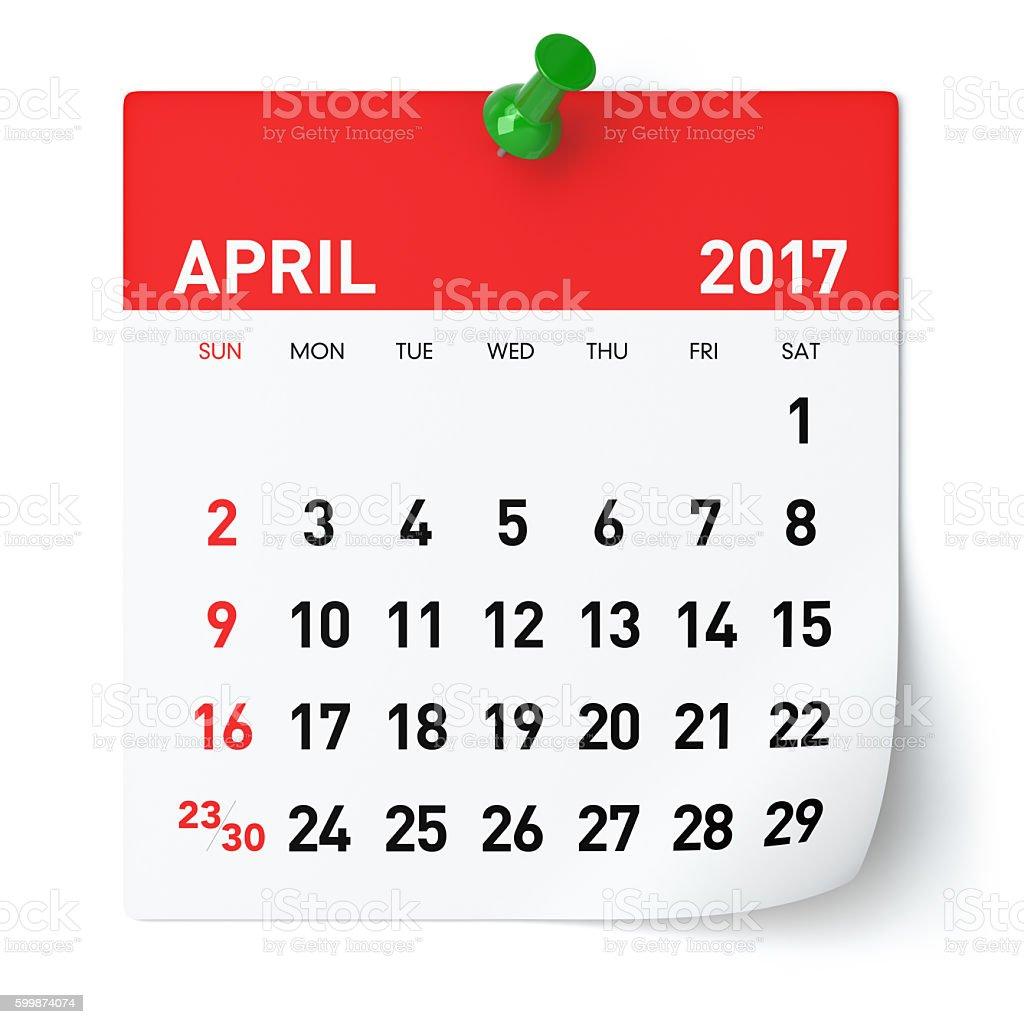 April 2017 - Calendar stock photo