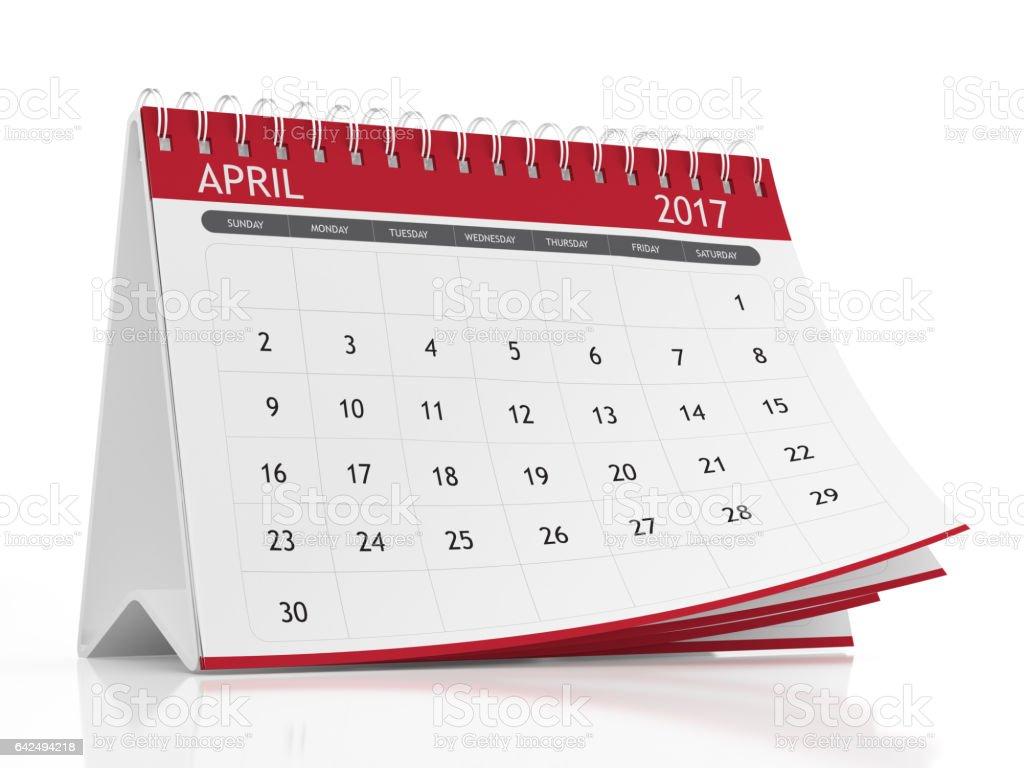 April 2017 Desktop Calendar on White Background stock photo
