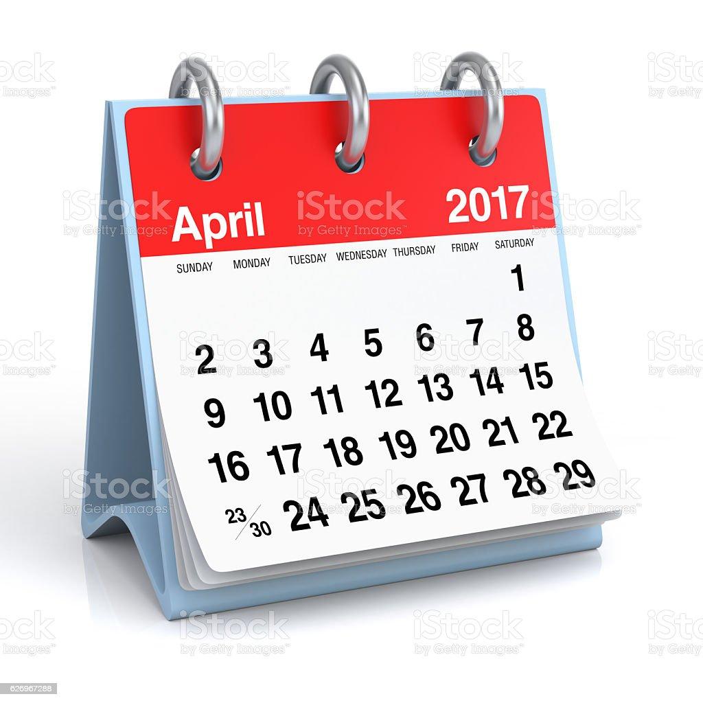 April 2017 - Desktop Spiral Calendar. stock photo