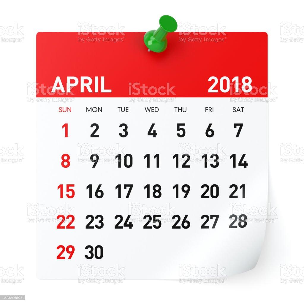Abril de 2018 - calendario - foto de stock