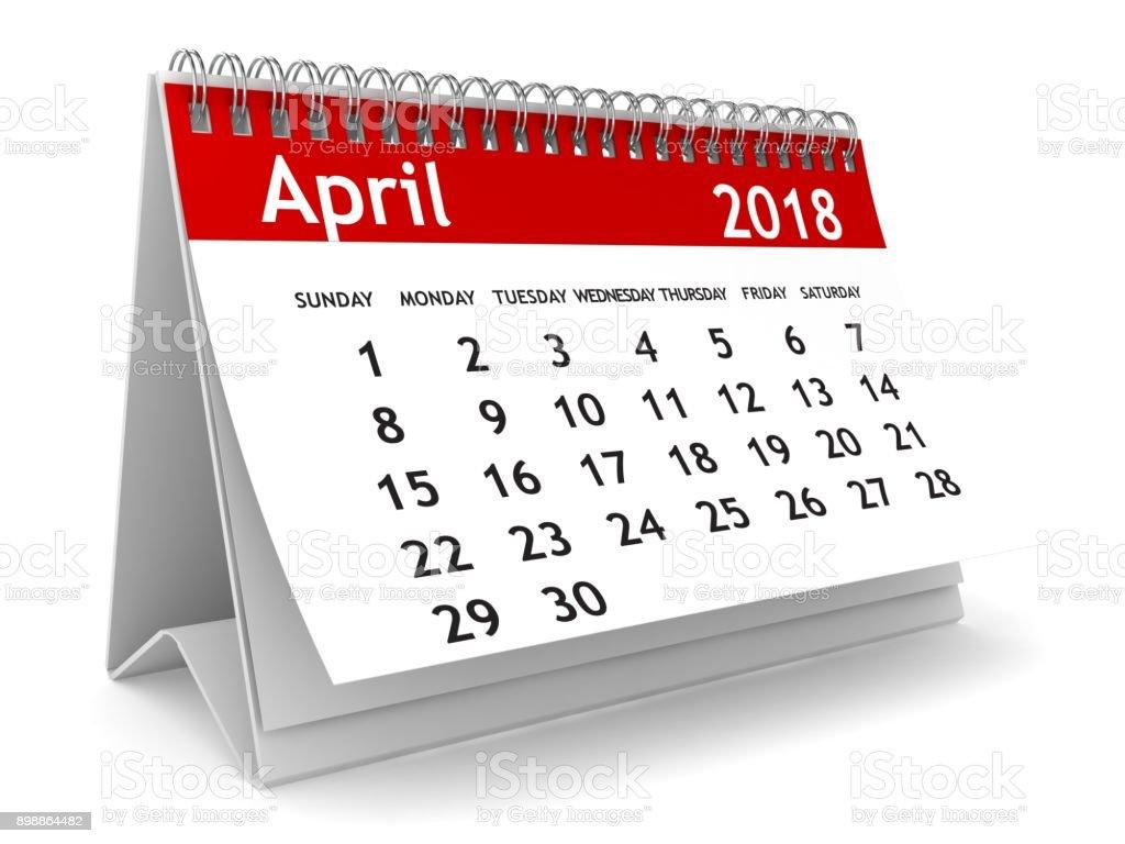 Calendario de abril de 2018 - foto de stock